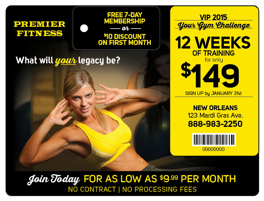 Plastic Postcard Fitness Membership Marketing 11