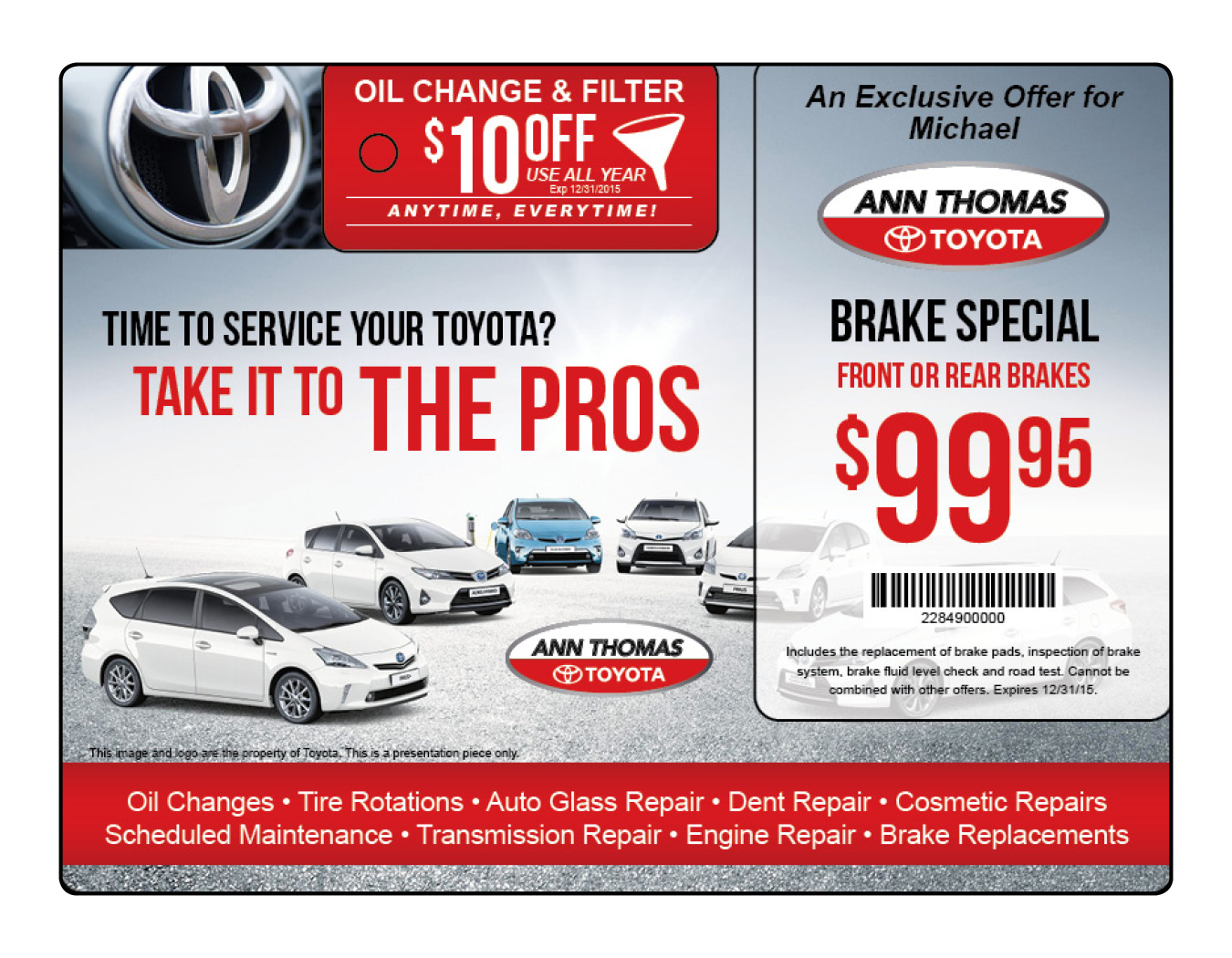 Auto Dealership Service Marketing Postcard Mailer