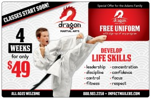 Karate Direct Mail Plastic Postcard | Martial Arts Marketing