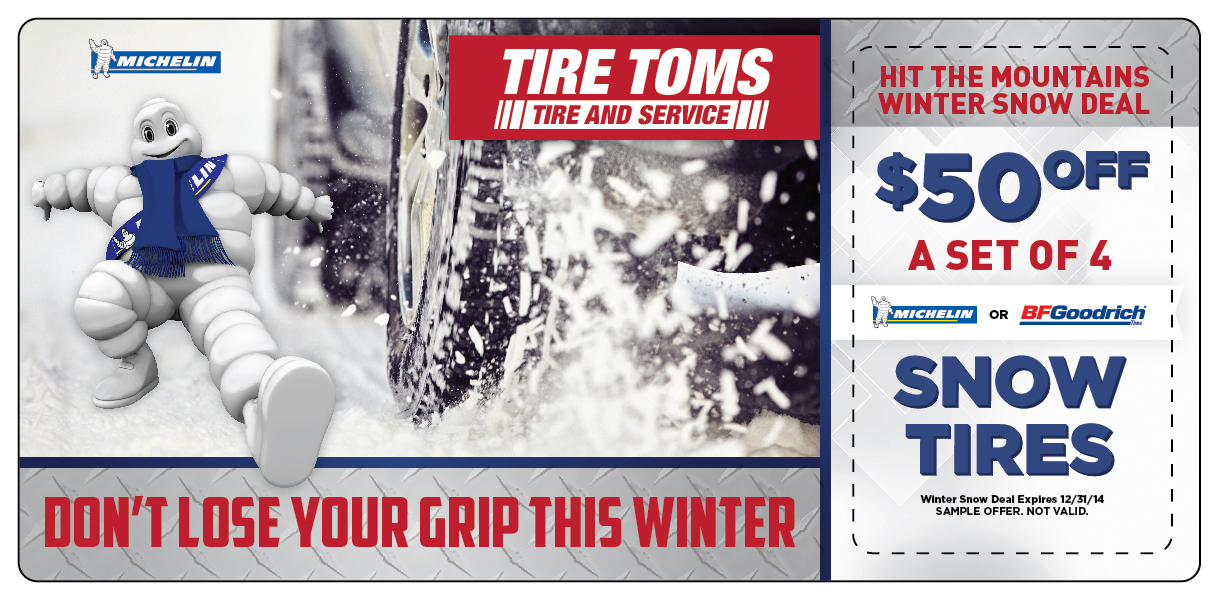 Snow Tire Marketing Direct Mail Postcard