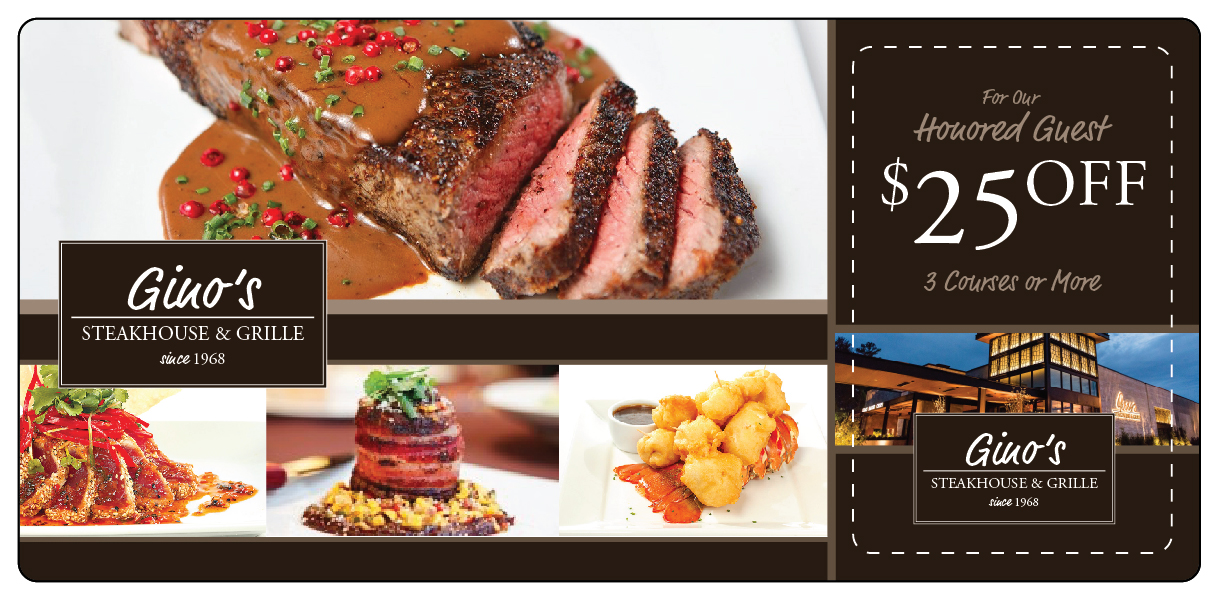 Steakhouse marketing direct mail plastic postcard