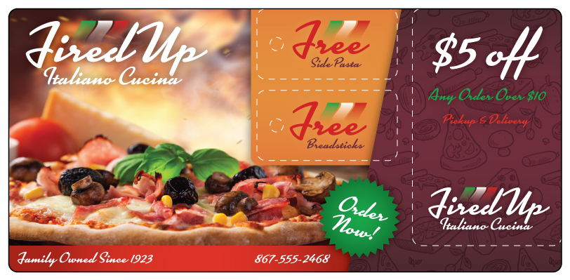 Italian Restaurant Marketing Postcard